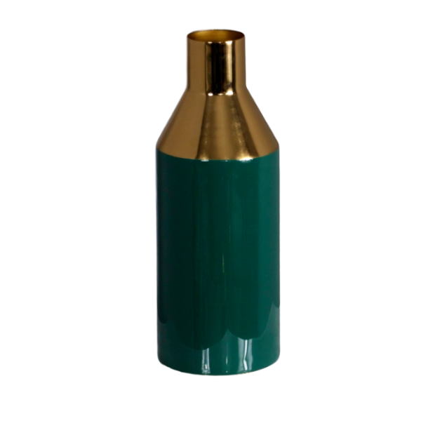 Gold-Stem-deep-green-Vase
